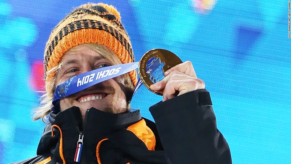 Michel Mulder of the Netherlands poses with his gold medal after winning the 500-meter speedskating event on February 11.