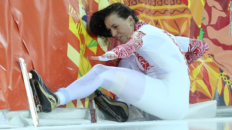 Russian speedskater Yekaterina Lobysheva falls while competing in the 500 meters on February 11.