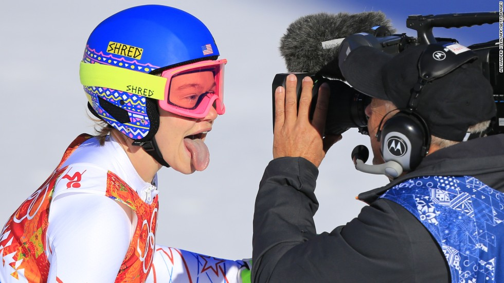 Skier Laurenne Ross of the United States reacts after her run in the downhill event February 12.