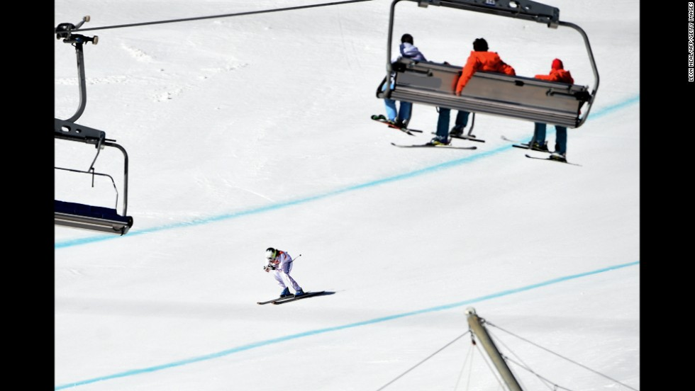Jacqueline Wiles of the United States skis past a chairlift during the women's downhill on February 12.