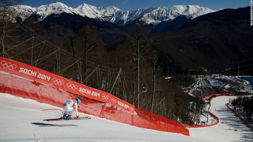 Edit Miklos of Hungary competes in the women's downhill on February 12.