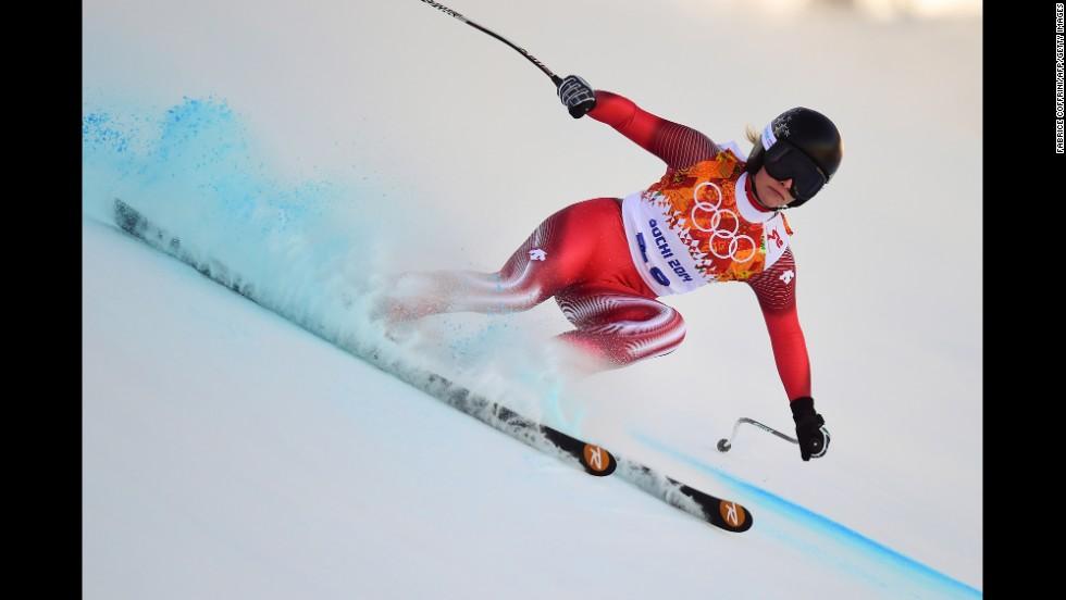 Switzerland's Lara Gut makes her way down the mountain in the women's downhill.