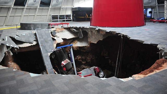 Corvettes swallowed up in sinkhole