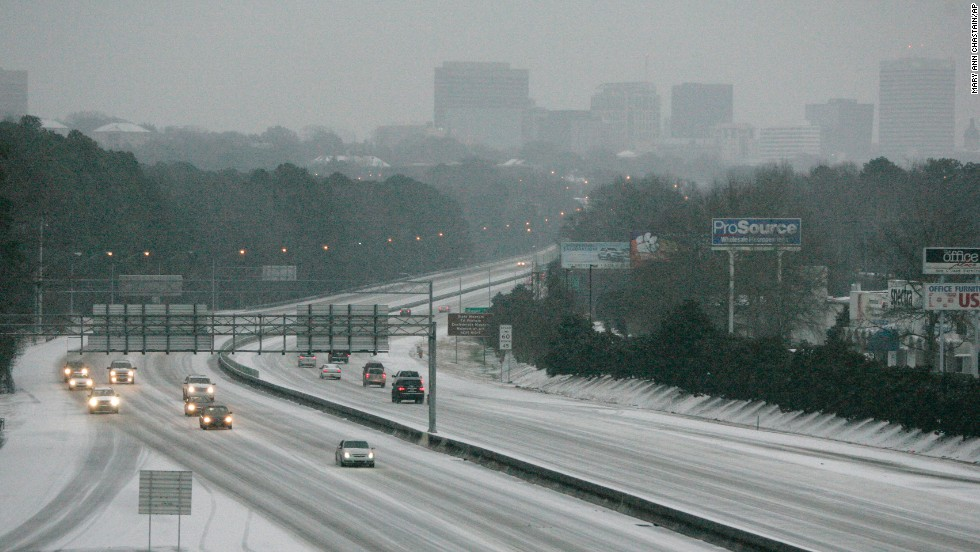 Ice and snow cover Interstate 26 in Columbia, South Carolina, on February 12.