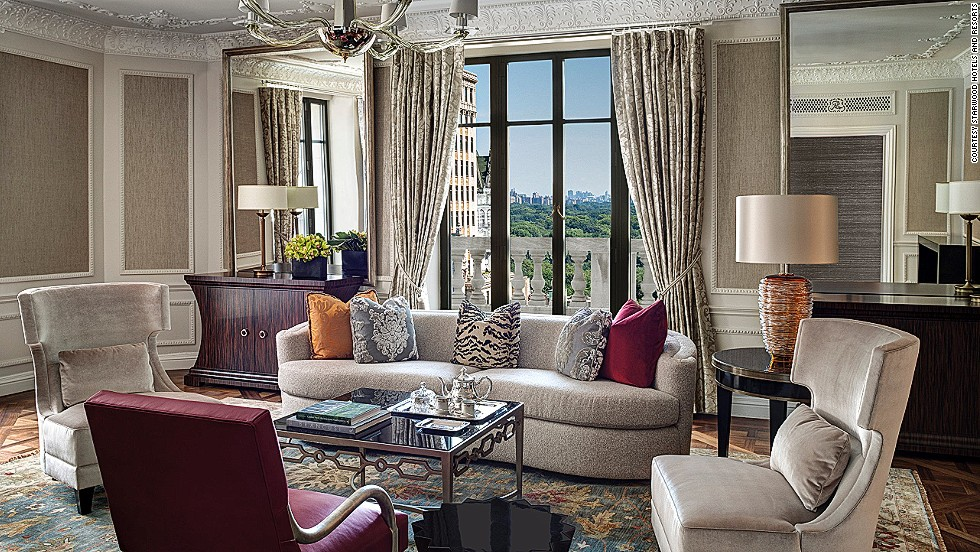 The Presidential Suite at the iconic St. Regis New York City was redesigned last year by Richard Mishaan. The $35,000 per-night abode offers uninterrupted views of Central Park, and has its own dining room, living room, wood-paneled library and three bedrooms. There's also butler service, and access to the hotel's Bentley Mulsanne.