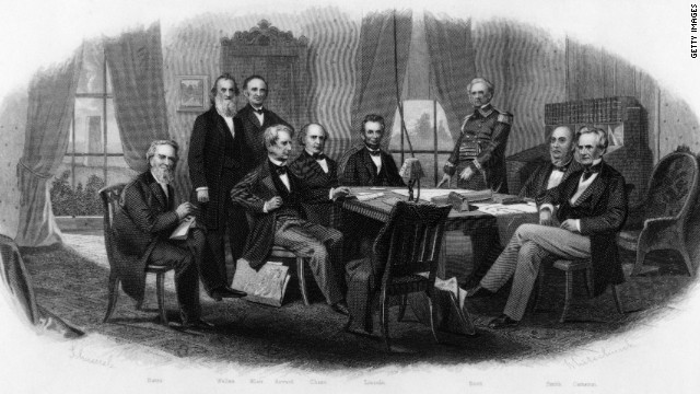 An engraving of President Abraham Lincoln and his Cabinet with Gen. Winfield Scott at the White House, circa 1864.
