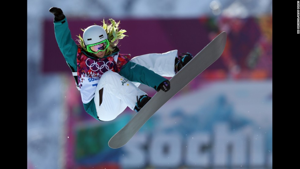 Stephanie Magiros of Australia competes in the women's halfpipe.