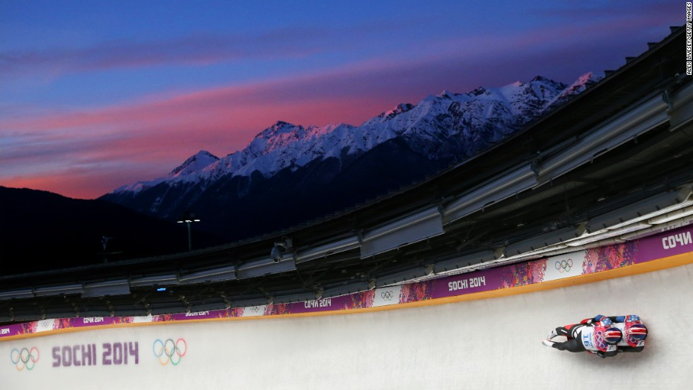 Americans Matthew Mortensen and Preston Griffall make a run during the men's luge doubles competition on February 12.