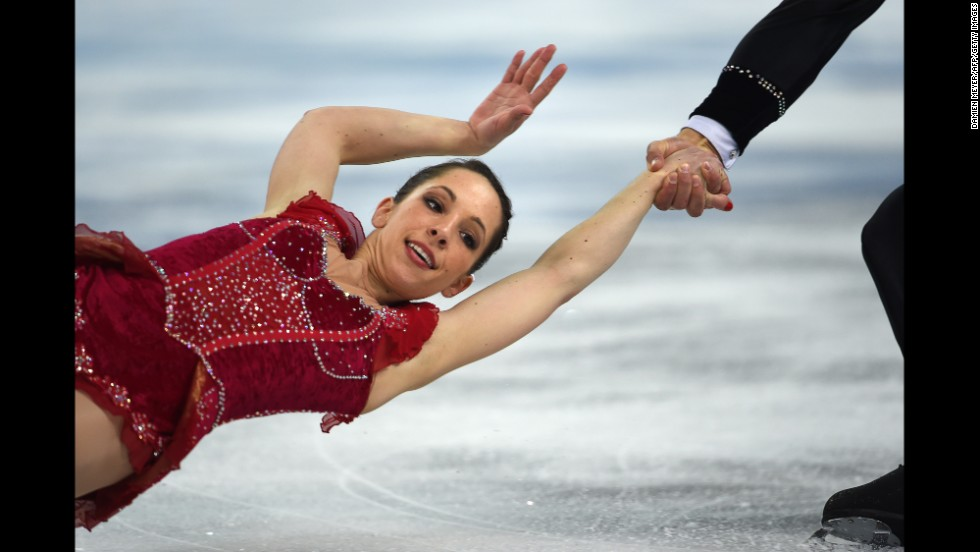 Italy's Nicole Della Monica and Matteo Guarise perform their free program during pairs figure skating on February 12.