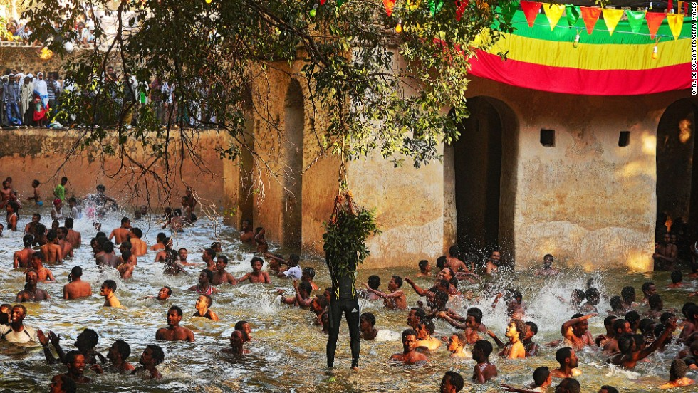 Every year during Timket -- the holiest holiday on the Ethiopian Orthodox Christian calendar -- thousands of pilgrims flock to the city of Gondar to immerse themselves in holy water. Two days of festivities ends in a jovial splash about.