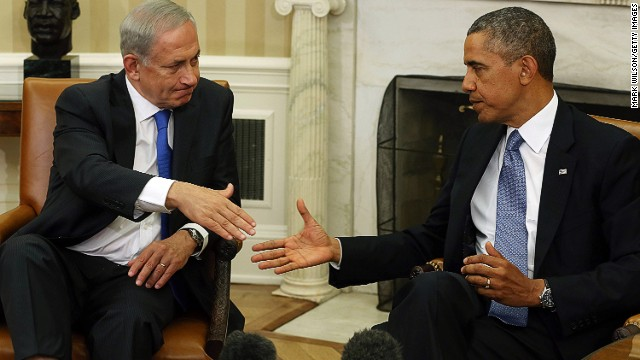 President Barack Obama with President Benjamin Netanyahu in the Oval Office on September 30, 2013 in Washington, DC.