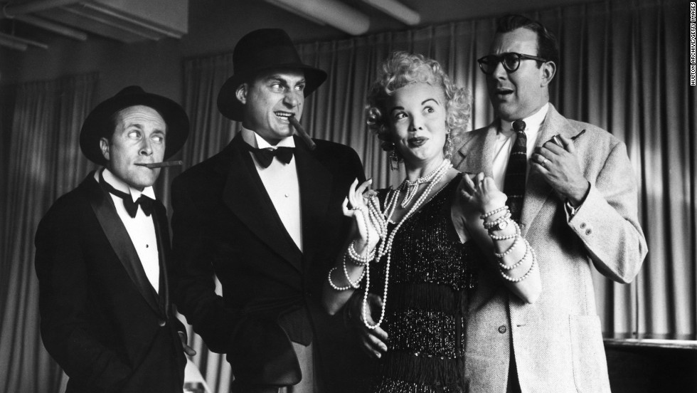 "From left, actors Howard Morris, Caesar, Nanette Fabray and Carl Reiner rehearse for the 1950s television series ""Caesar's Hour."""