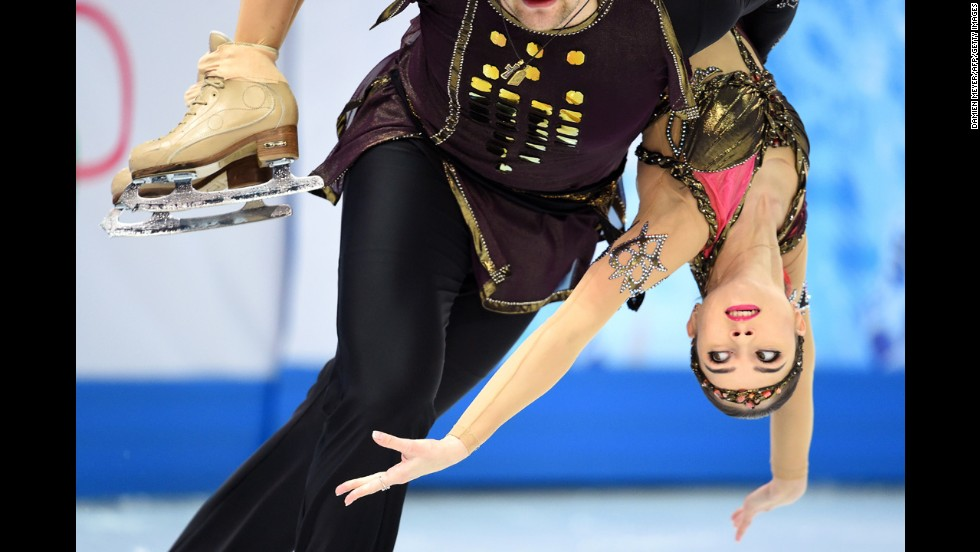 Russia's Vera Bazarova lets partner Yuri Larionov do the lifting during pairs figure skating on February 12.