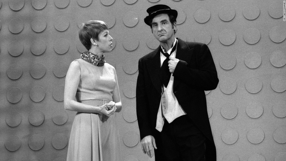 "Caesar guest stars on ""The Carol Burnett Show"" with Carol Burnett in 1967."