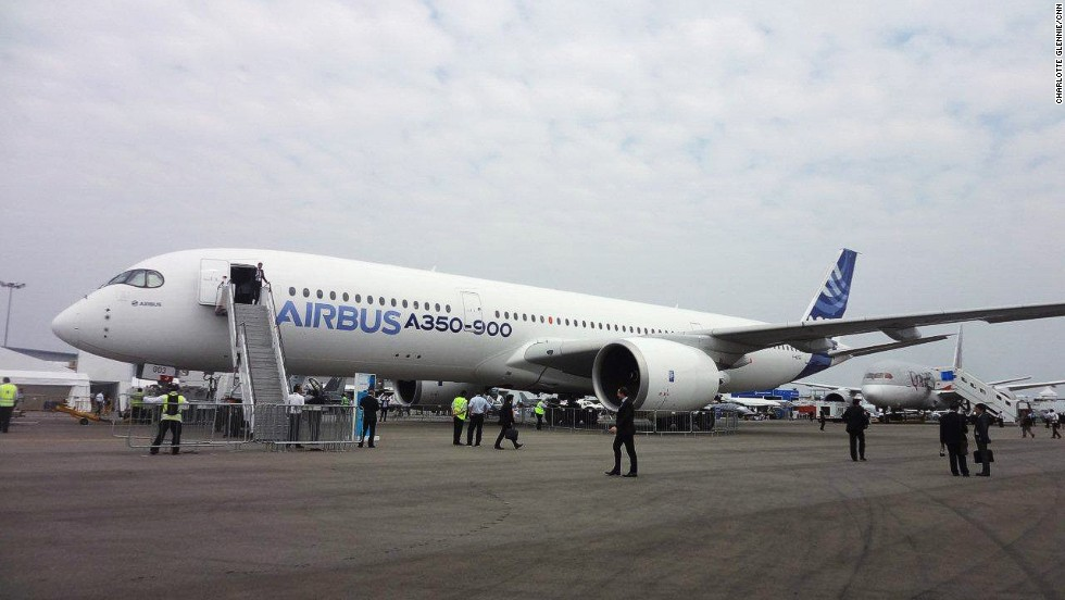 "Airbus touts its A350 XWB as the ""new-generation wide body jetliner shaping efficiency for the future of air travel."""