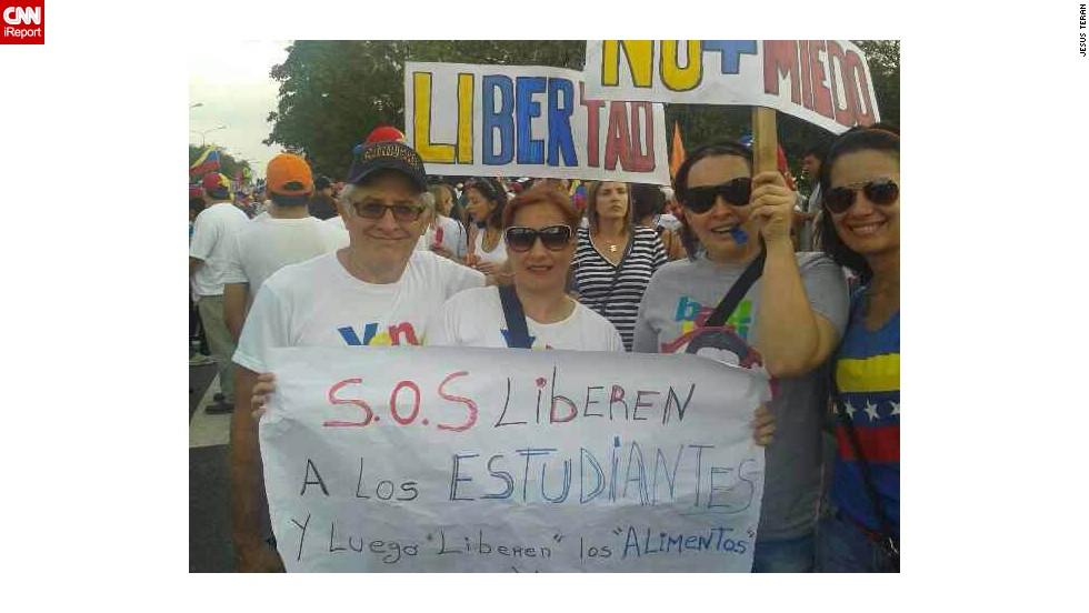 Manifestantes en la marcha en Barquisimeto.