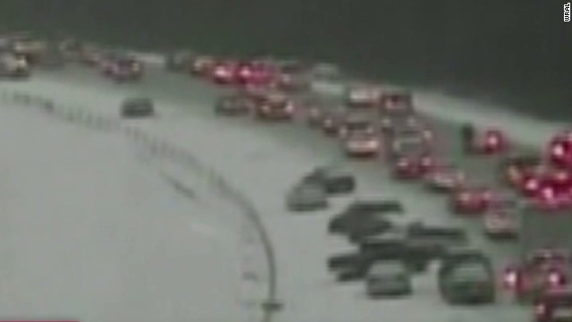 Carolina drivers stuck in icy traffic jam