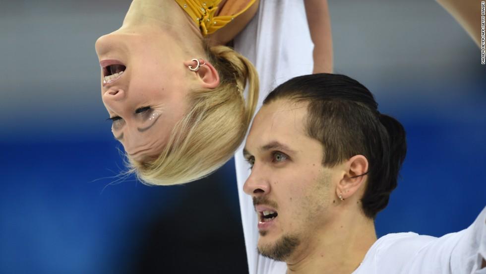 Russia's Maxim Trankov and Tatiana Volosozhar complete the free skate portion of their figure skating program.