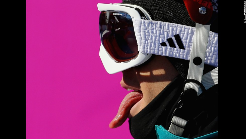 Russell Henshaw of Australia sticks out his tongue during the men's slopestyle.