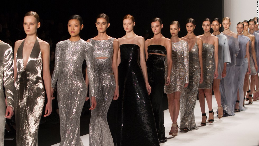 The designers also played with metallic hues in their floor-length gowns.