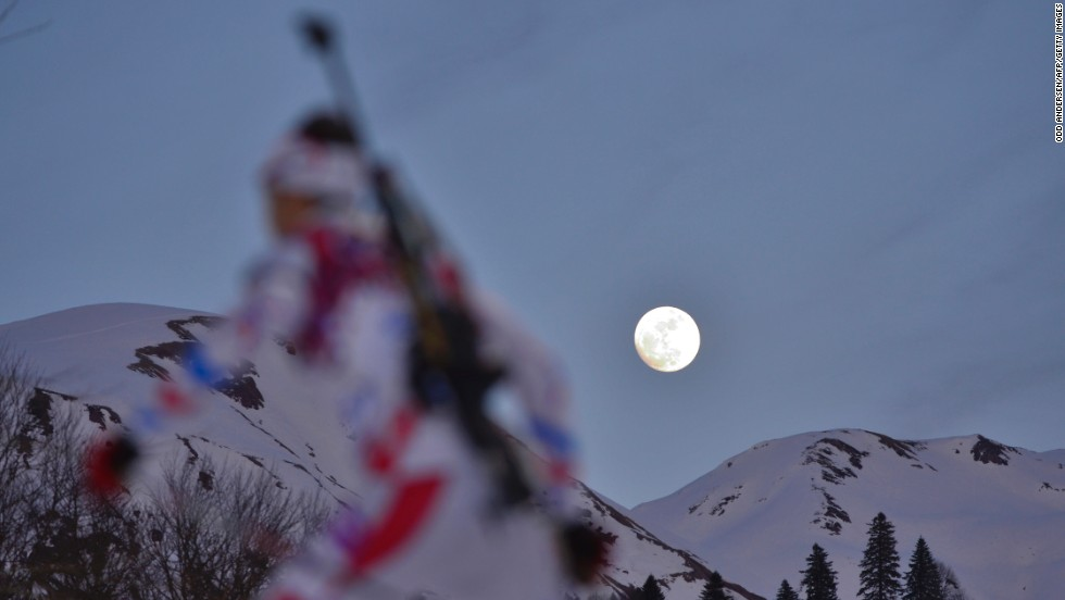 France's Martin Fourcade competes in the 20-kilometer biathlon on February 13.