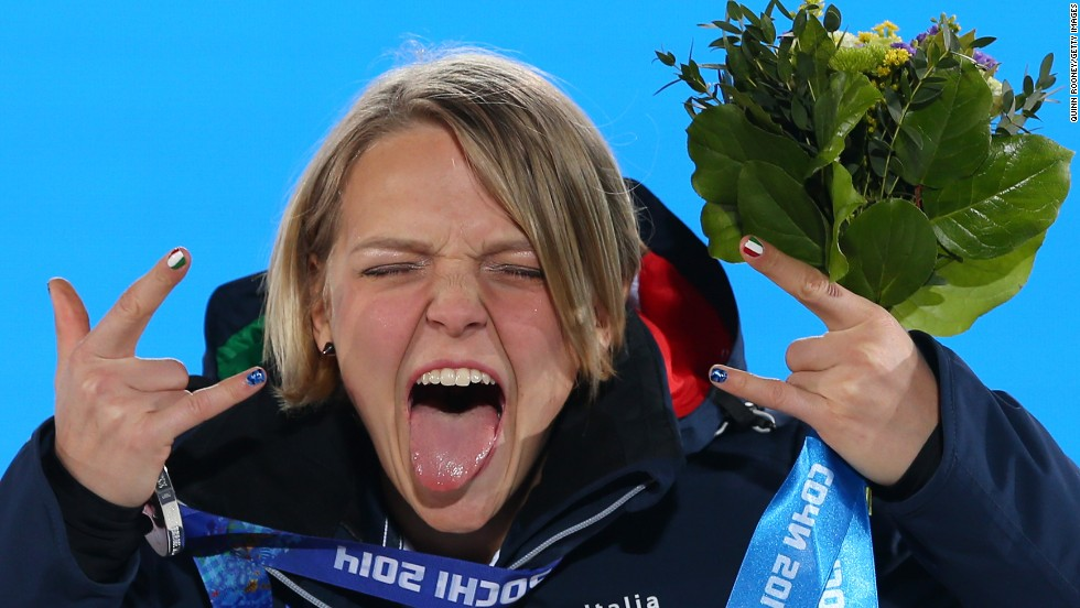 Silver medalist Arianna Fontana of Italy celebrates during the medal ceremony for the 500-meter short track speedskating competition on February 13.