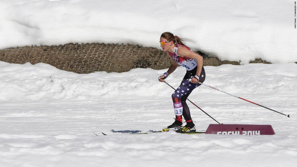 Sophie Caldwell of the United States skis with a sleeveless top during the women's 10-kilometer classic.