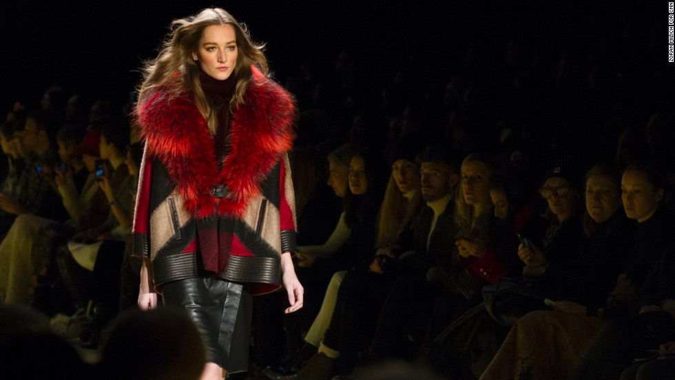 J. Mendel used a boldly-dyed fur to accent a piece of color-blocked outerwear.