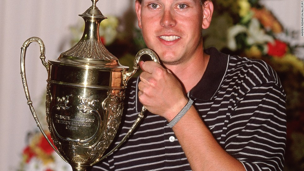 A 25-year-old Stenson with the Benson and Hedges International Open trophy in 2001. His maiden European Tour win was followed by a dramatic slump the following season where he missed 14 cuts in 22 events and won just over €40,000 ($55,000) in prize money.