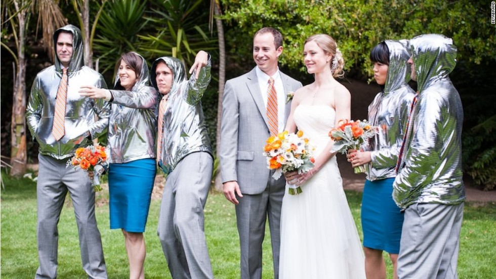 Betabrand's DiscoLab makes people shiny. Yay! Because you'll never regret this wedding photo.