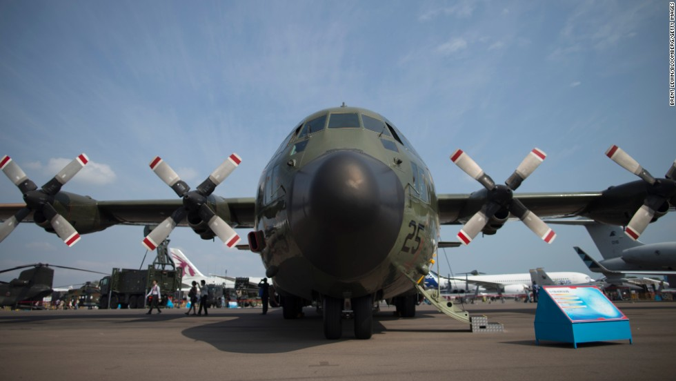 A Republic of Singapore Air Force C-130 Hercules military aircraft stands on display on  February 12.