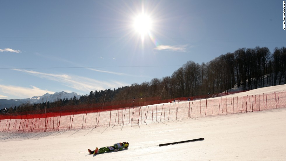 Yuri Danilochkin of Belarus crashed during the downhill portion of the men's super-combined event February 14.