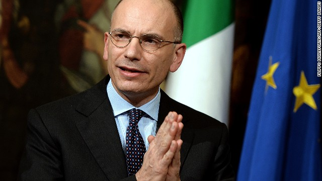 Italian Prime Minister Enrico Letta gives a press conference to present a document called ' Italy commitment' with his proposals in Rome's Palazzo Chigi Palace government office on February 12, 2014.