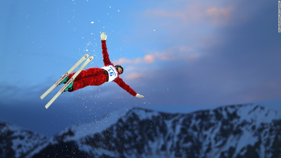 Veronika Korsunova of Russia competes in the women's aerials on February 14.