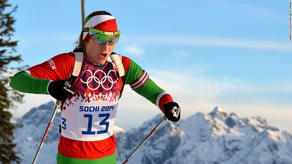 Belarus' Darya Domracheva competes in the women's 15-kilometer biathlon on February 14.