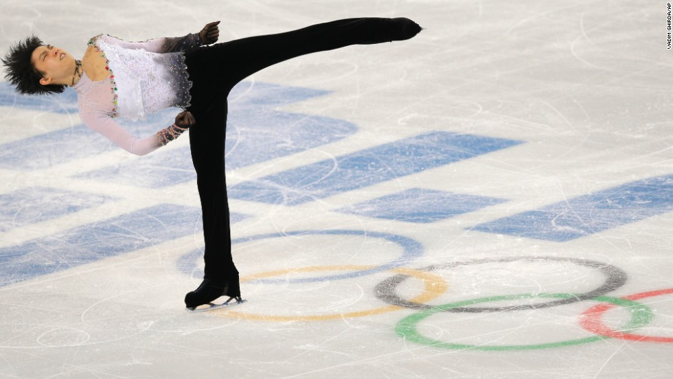 Japanese figure skater Yuzuru Hanyu performs his free skate during the men's individual competition February 14.