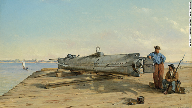 Click to expand: Conrad Wise Chapman made this contemporary painting of the H.L. Hunley.