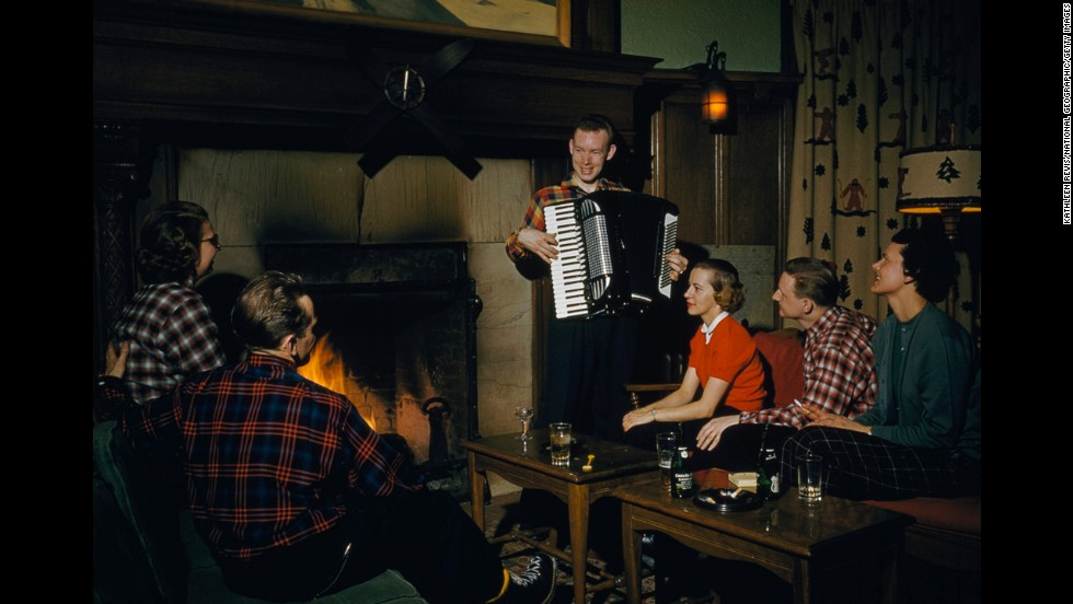 Apres-ski entertainment isn't what is used to be. An accordionist plays for skiers in a lounge in 1958 at Chateau Frontenac in Quebec City.