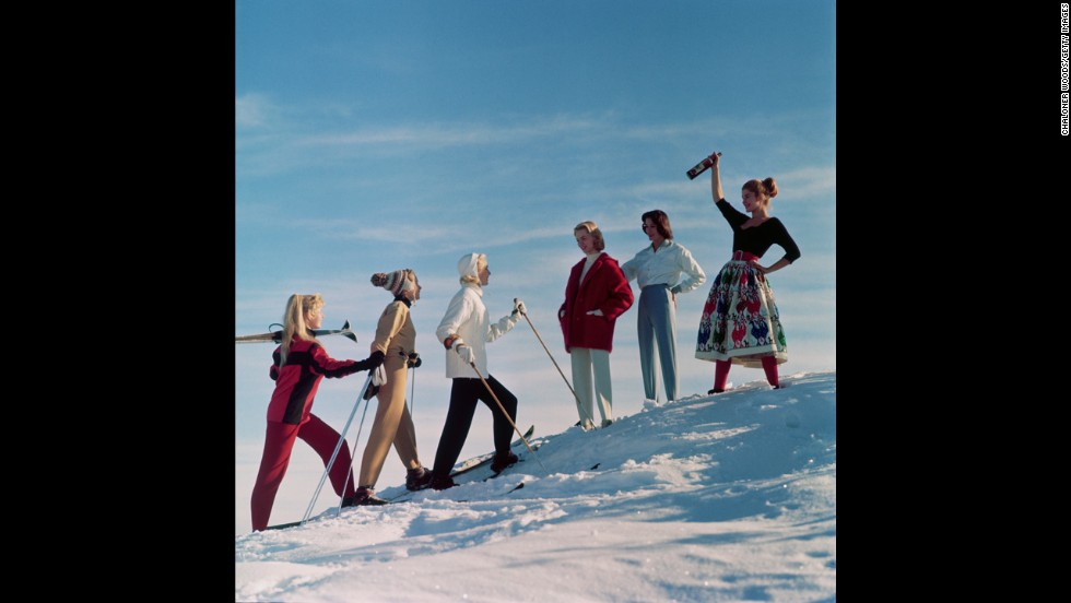 Come and get it! This group seems ready and willing to ski uphill for booze. Circa 1955