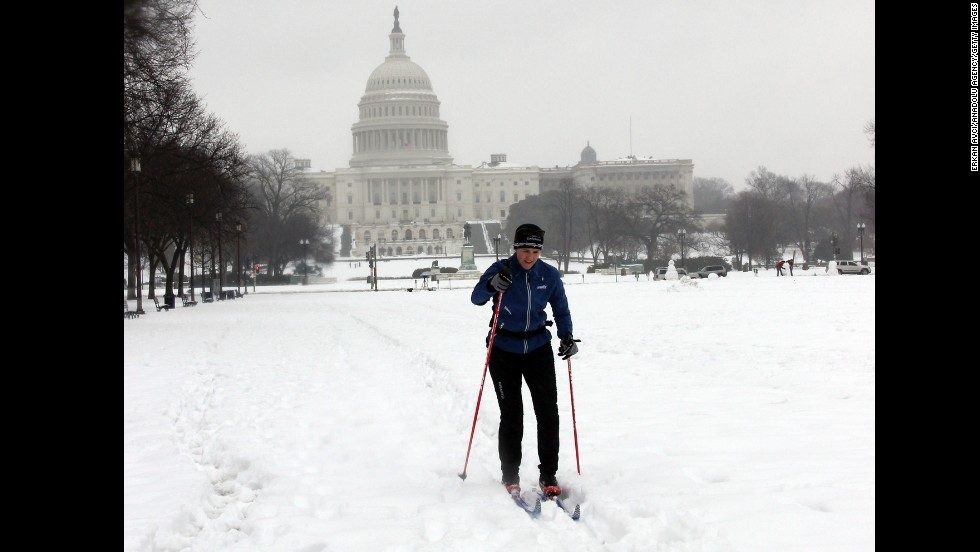 A man skis in front of the Capitol building in Washington on February 13.