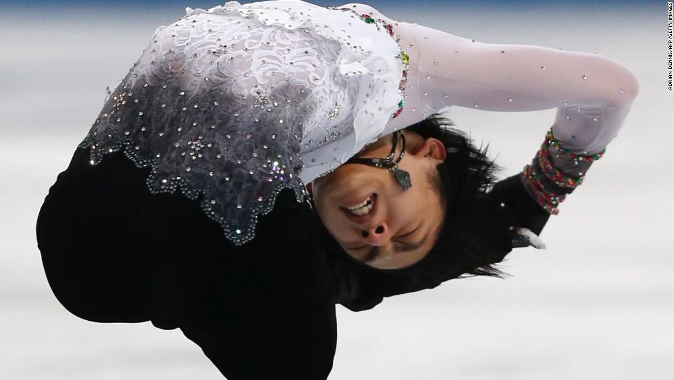 Japan's Yuzuru Hanyu performs in the men's individual figure skating event February 14.