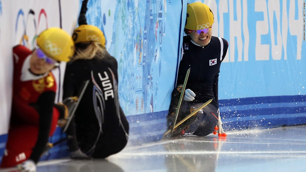 South Korea's Kim Alang falls as she competes in the final of the 1,500-meter short track speedskating event on February 15.