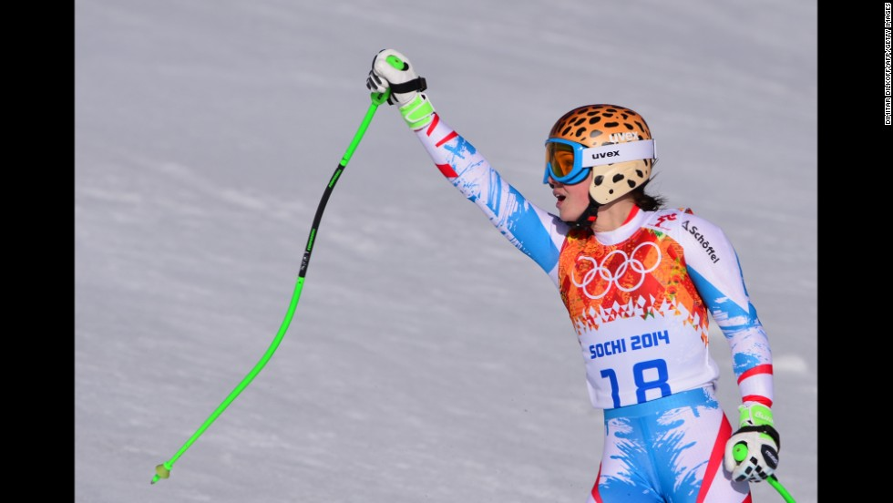 Austrian skier Anna Fenninger reacts after her run in the super-G on February 15.