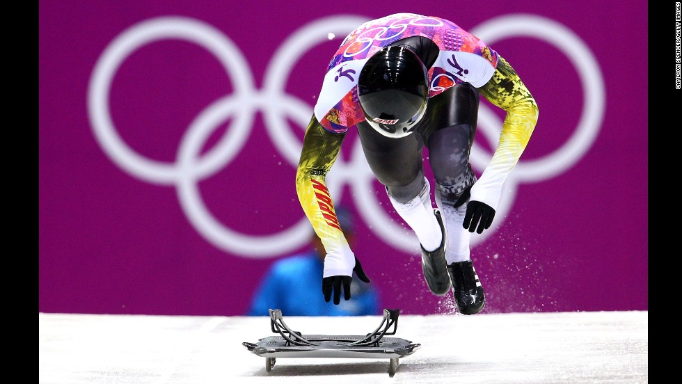 Hiroatsu Takahashi of Japan makes a run during the men's skeleton competition on February 15.