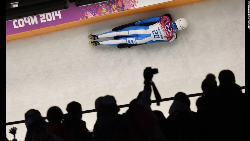 Italy's Maurizio Oioli competes in the men's skeleton.