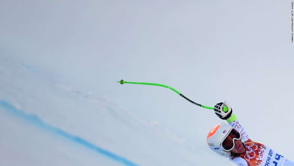 U.S. skier Stacey Cook falls during the women's super-G on February 15.