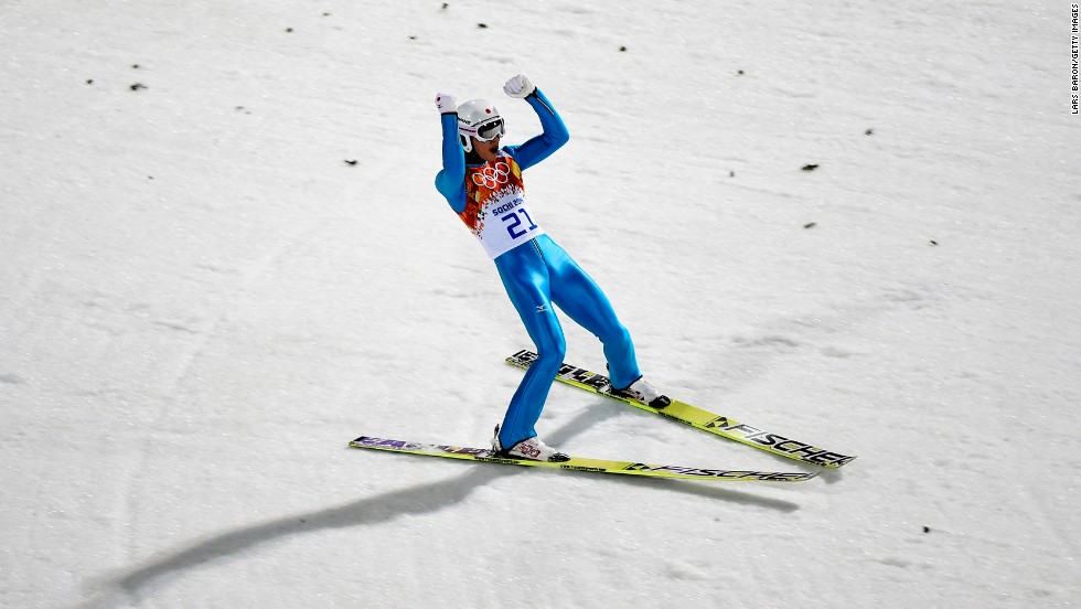 Reruhi Shimizu of Japan lands his jump February 15 in the men's large hill ski jumping event.