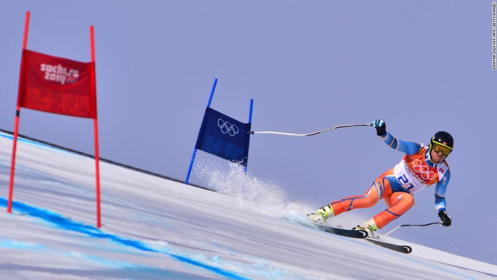 Norway's Kjetil Jansrud skis in the men's super-G on February 16.