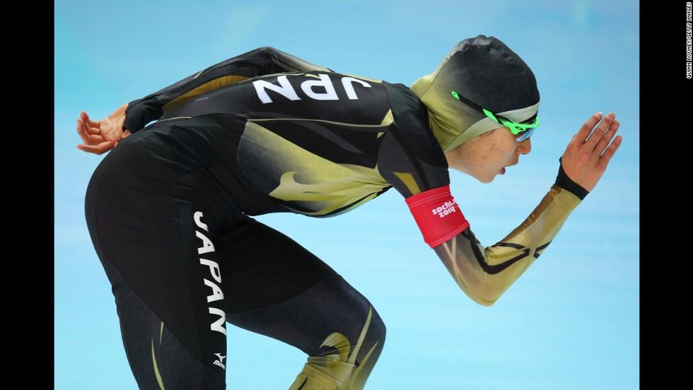 Ayaka Kikuchi of Japan competes in the women's 1,500-meter speedskating event on February 16.