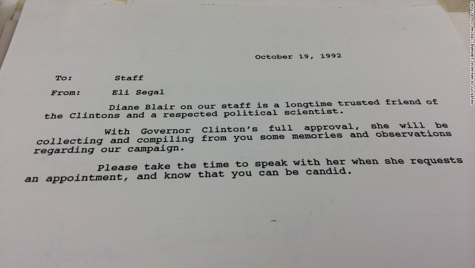 Near the end of Bill Clinton's 1992 presidential campaign, Blair was allowed to interview members of his staff on their recollections for a possible book.